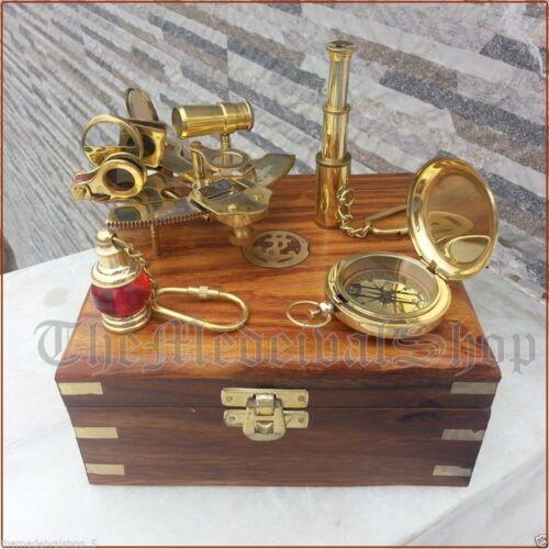 Vintage Maritim Kompass//Teleskop//Sextant W Holzkiste Nautisch Brass Gift Satz