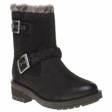 New Womens Superdry Black Hurbis Nubuck Boots Ankle Pull On