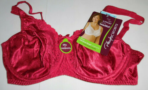 Playtex Secrets Bra 4422 Signature Floral Lace Lift Underwire 36C 36 C Red NWT