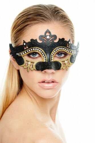 Black and Gold Venetian Masquerade Mask With Clear Rhinestones Perfect for Prom