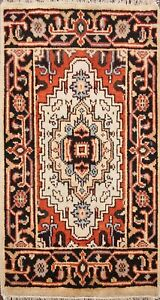 Hand-knotted-Geometric-Indo-Heriz-Ivory-Oriental-Area-Rug-Wool-Home-Decor-2x3-ft