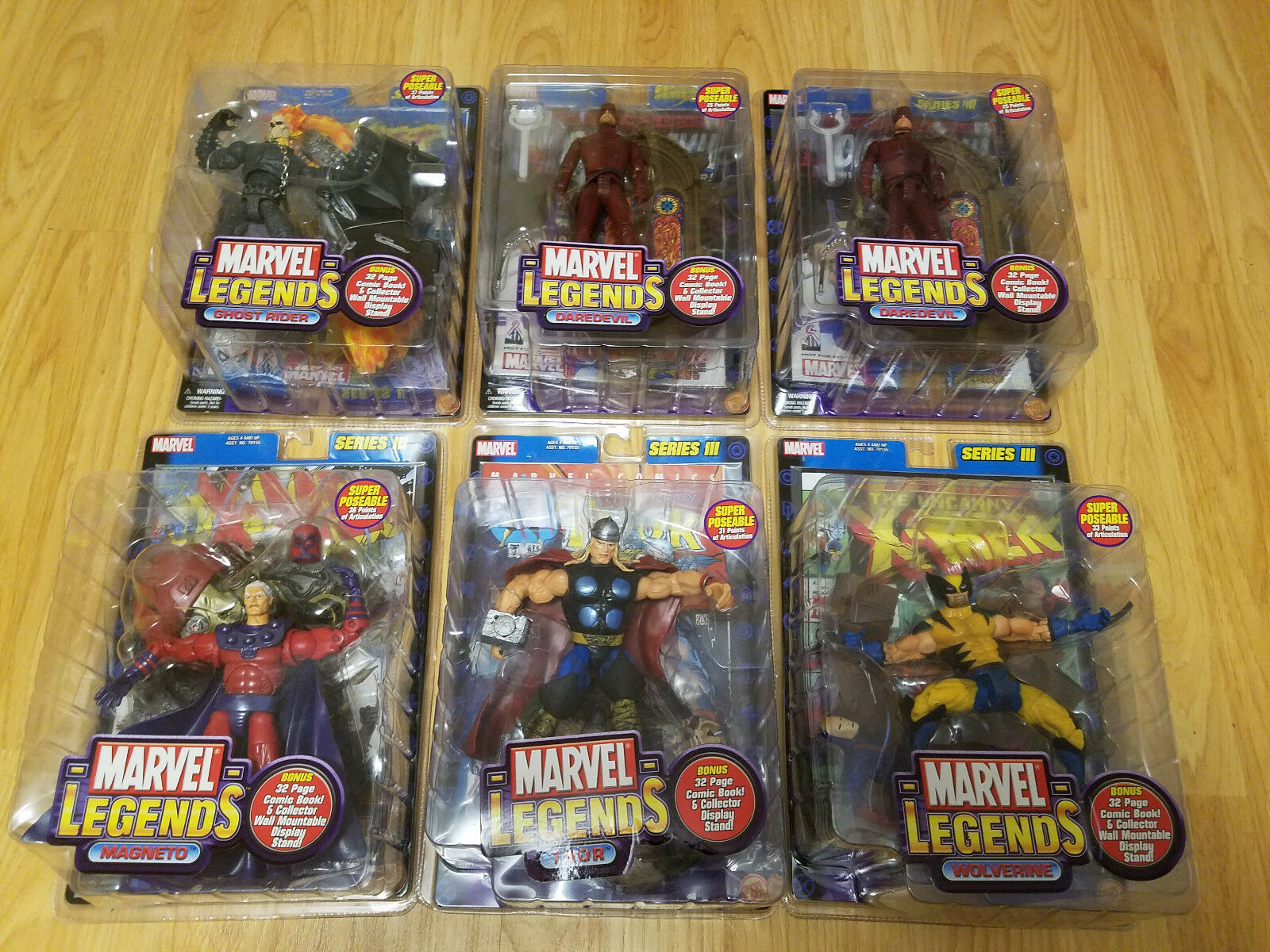 MARVEL LEGENDS Series 3 Set with Variant by TOY BIZ 2002 Case Fresh 6 Figures
