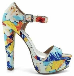 Platform-Floral-Shoes-ankle-strap-womens-size-11-Open-Toe-spring-clubwear