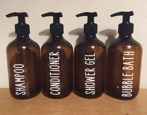 4x personnalisé Distributeur Bouteilles Bébé Hygiène Shampooing Revitalisant gel douche