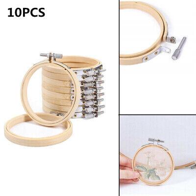 10PCS 10cm Wood Hand Embroidery Hoop Round Cross Stitch Frame Needlecrafts UK
