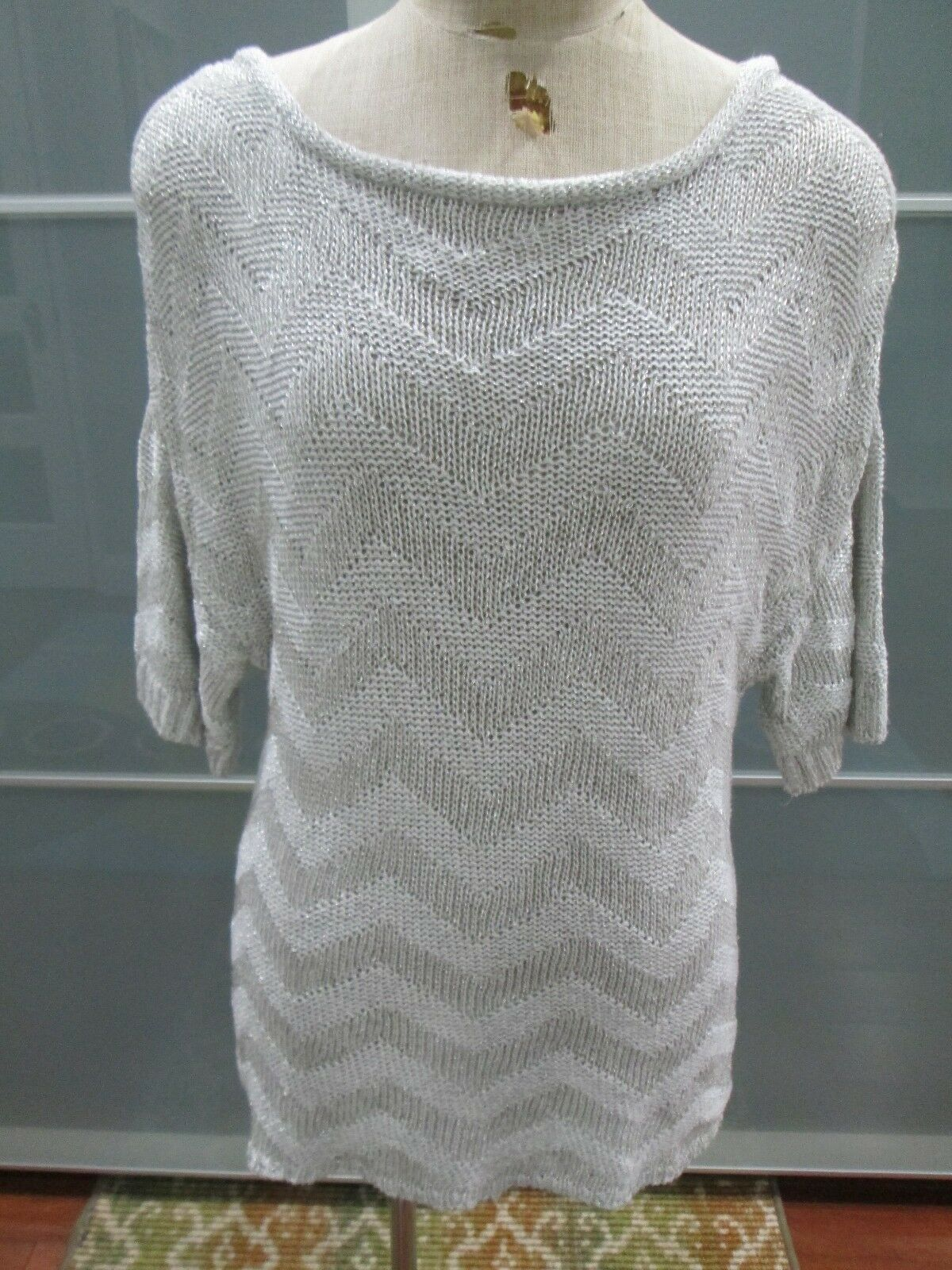 Magaschoni Collection Chevron Print Metallic Thread Sweater Over Sized Fits Sz M