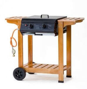 stand gas grill 2 edelstahl brenner party garten bbq thermometer standbeine holz ebay. Black Bedroom Furniture Sets. Home Design Ideas