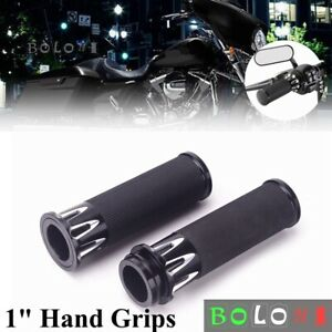 """Electronic Throttle 1"""" Black Handle Bar Hand Grips for Harley Touring Sportster"""