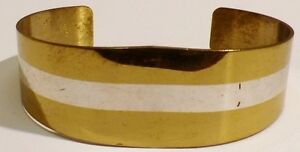 Discipliné Bracelet Rigide Bijou Vintage Vermeil Argent 925/1000 Et Or Rigide 2 Coul *395