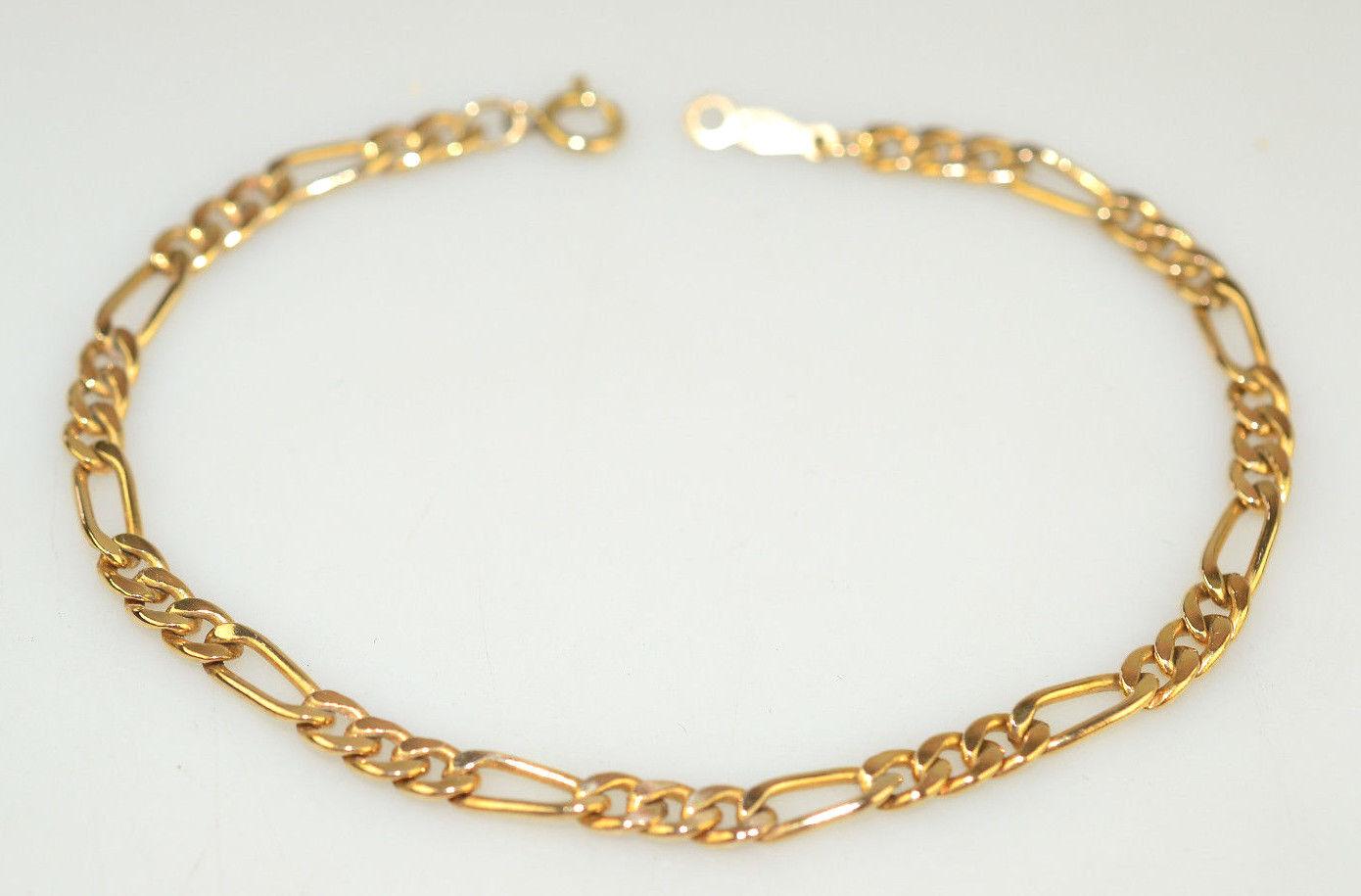VINTAGE 14K gold FILLED FIGARO LINK CHARM BRACELET 7 1 8 INCHES LONG 3.4 GRAMS