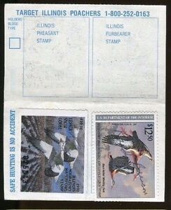Illinois 1990 resident hunting license rw57 state duck for Fishing license illinois