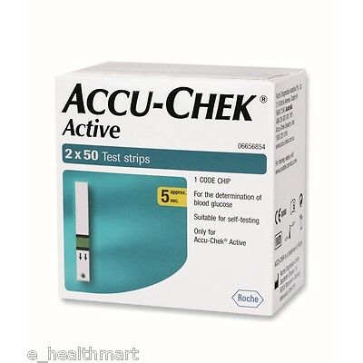 Accu-Chek Active 100 Test Strips, 2*50 Strips, 1 Code Chip Exp - March 2018