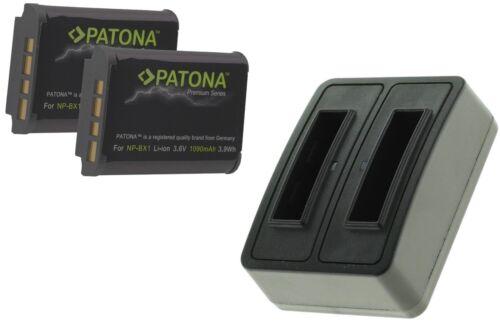 2x premium batería para sony action cam HDR as50//np-bx1 Cargador dual incl