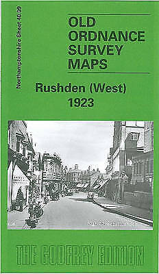 OLD ORDNANCE SURVEY MAP RUSHDEN WEST 1923 HIGH STREET CHURCH GREEN KNUSTON HALL