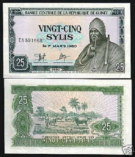 GUINEA 25 SYLIS P24 1980 MAN SMOKING PIPE COW UNC TONE CURRENCY MONEY BANK NOTE