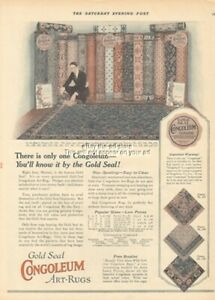 1924 CONGOLEUM Gold Seal Art-RUGS Vintage 1920s Home Flooring Decor Ad