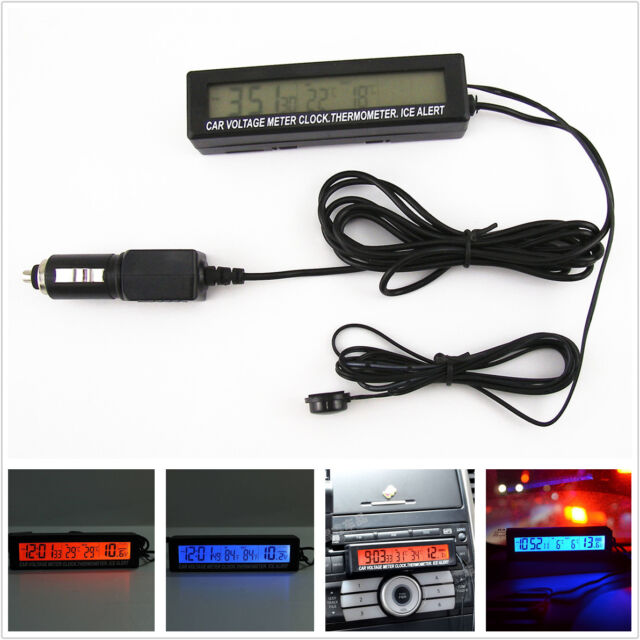 3 in 1 Car Digital LED Time Voltmeter Thermometer Electronic Clock Alarm Monitor