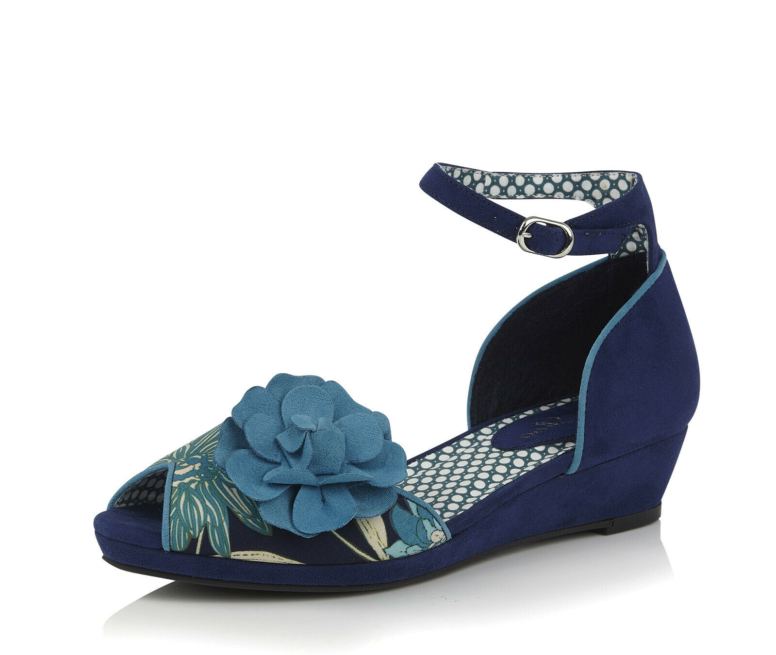 Ruby Shoo NEW Phyllis royal Blau floral low heel cork wedge peep toe schuhe 3-8