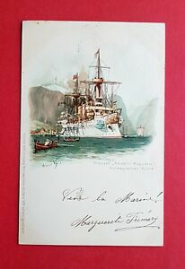 Kuenstler-Litho-AK-SCHIFFE-1898-Kreuzer-Kaiserin-Augusta-norweg-Fjord-37966