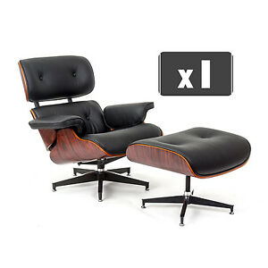 replica charles eames lounge chair ottoman in black leather rosewood ebay. Black Bedroom Furniture Sets. Home Design Ideas