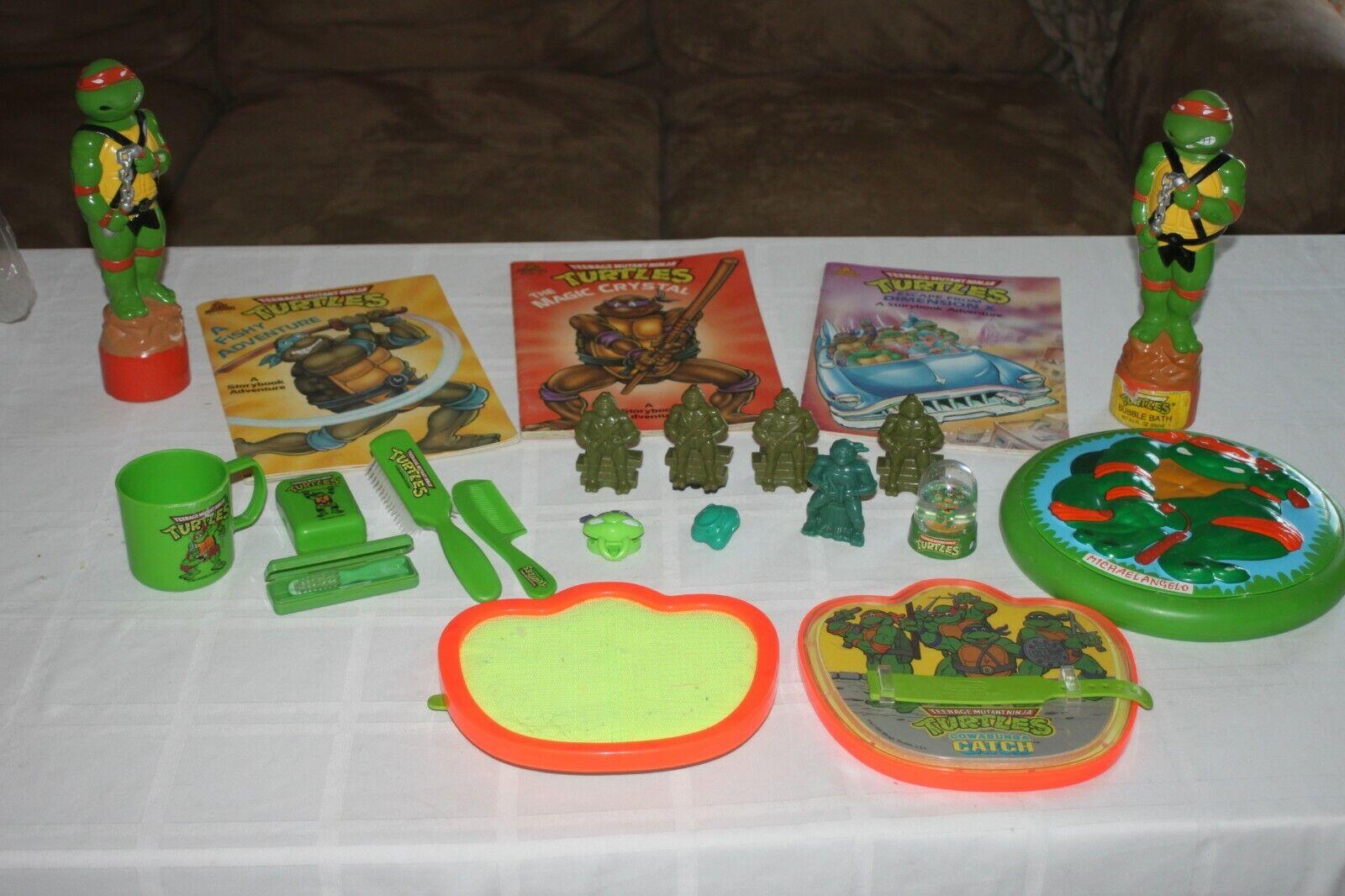 VTG Huge lot of Vintage TNMT Teenage Mutant Ninja Turtle Books Toys Misc