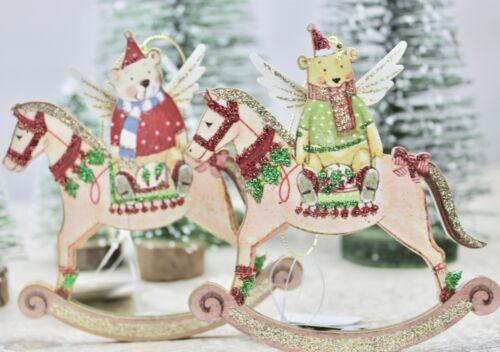 Gisela Graham Noël TOY FACTORY Teddy sur cheval à bascule Décoration