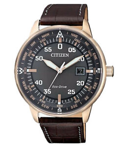 Citizen Eco-Drive Men's BM7393-08H Rose-Gold Tone Case Leather Band 42mm Watch