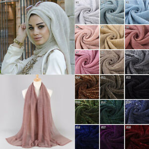 Women-Crinkle-Hijab-Veil-Gold-Glitter-Muslim-Scarf-Shimmer-Shiny-Head-Wrap-Shawl