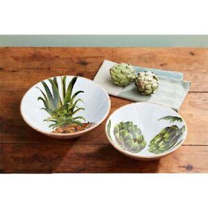 Mud Pie E1 Welcome Wood Pineapple & Artichoke Nested Bowl Set 46000199