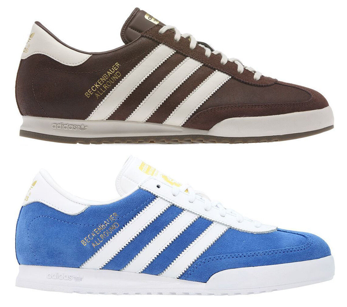 30d29be01766f Adidas Original Mens Mens Mens Beckenbauer Lace Up Trainers Suede Brown  bluee 7c2096