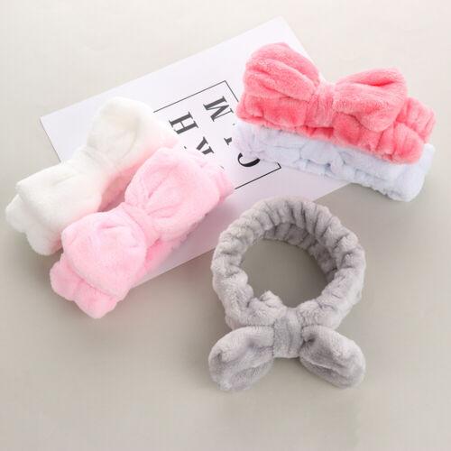 Girls Turban Soft Women Bow Hair Band Makeup Headbands Wash Face Coral Fleece