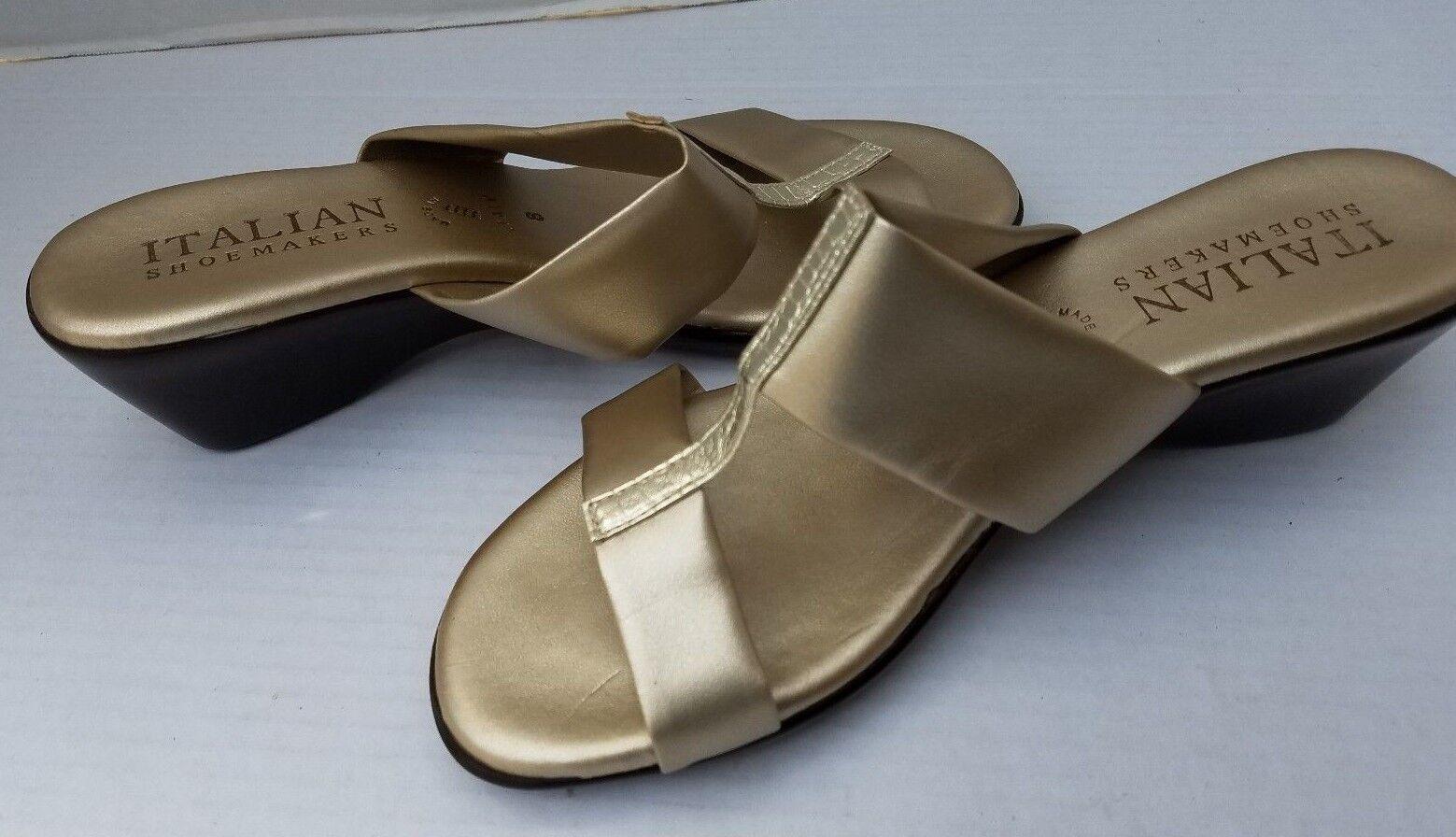 New 8 ITALIAN SHOEMAKER Gold Made in  Sandales Wedge 8 New Evening Day Slip On 389e5c