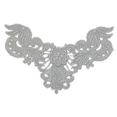 Silver Metallic Floral Sew On Yoke x 1