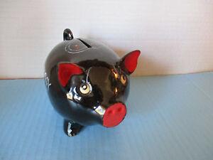 Vintage piggy bank medium black handpainted w stopper hearts on back side ebay - Piggy bank without stopper ...