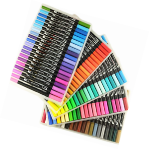 100 Unique Colors Dual Tip Brush Pens Non-Toxic Odorless Markers Set Fineliner 0