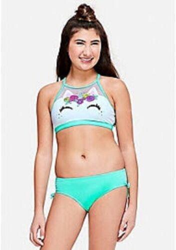 NWT Justice Girls Unicorn High Neck Bikini Size 14