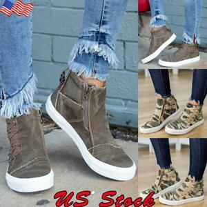 Women-Denim-Loafers-Pumps-Casual-Slip-On-Flat-Trainers-Sneakers-High-Top-Shoes