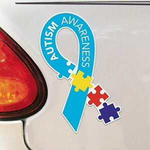 Autism Awareness Ribbon Magnet Large 7 Tall Blue Puzzle Piece Ebay
