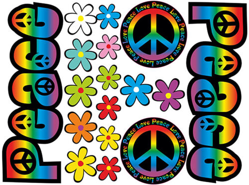 Pegatinas flores flores Hippie auto pegatinas Flower Power Love /& Peace 03-Rainbow