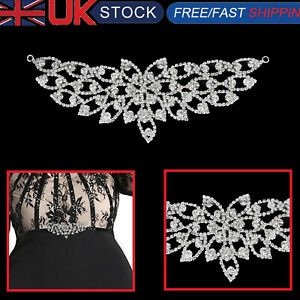 Rhinestone-Diamante-Silver-Bridal-Wedding-Sew-On-Motif-Crystal-Applique-Patch