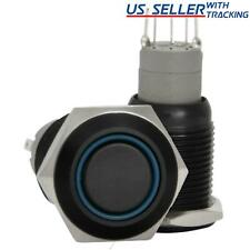 16mm Stainless Steel Latching Push Button Switch Black With Blue Led