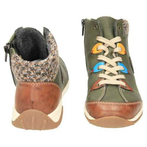 Rieker Lace Up Ankle Boots High Top Shoes L5222-24 Flat Green Pumps Trainers