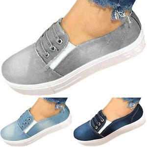 Womens-Slip-On-Flat-Denim-Canvas-Loafers-Pumps-Casual-Sports-Sneakers-Shoes-Size
