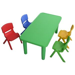 Image Is Loading Kids Plastic 1table 4 Chairs Set Colorful Play