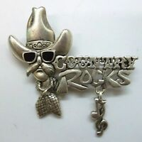 Country Western Signed Brooch Pin, Country Rocks Script, Ant Silver Plate,