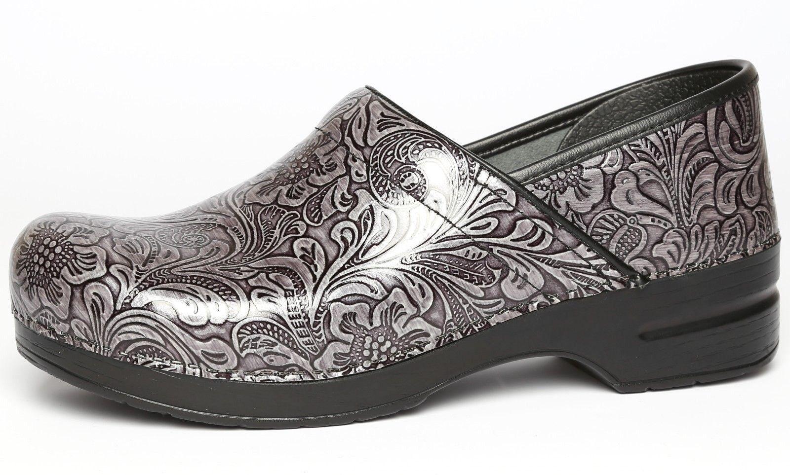 Dansko Womens Professional Grey Tooled Patent Leather Clog Sz 42 EUR 1003