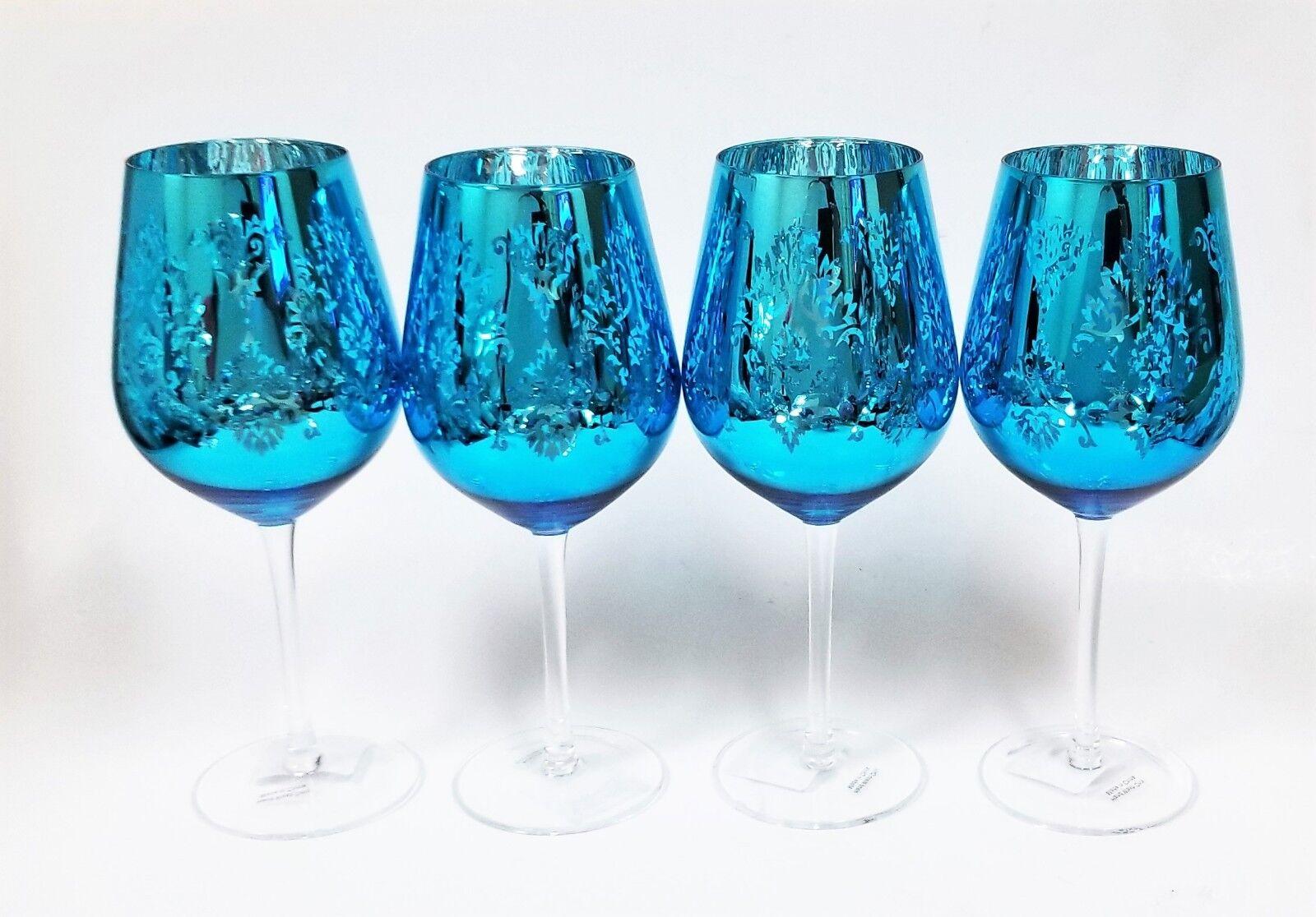 Artland Set de 4 Lustre Bleu Métallisé, Argent Tout Usage Vin, Gobelet + Tige