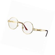 682d6c4b54 COASION Vintage Round John Lennon Sunglasses Steampunk Gold Metal Frame  Clear Su