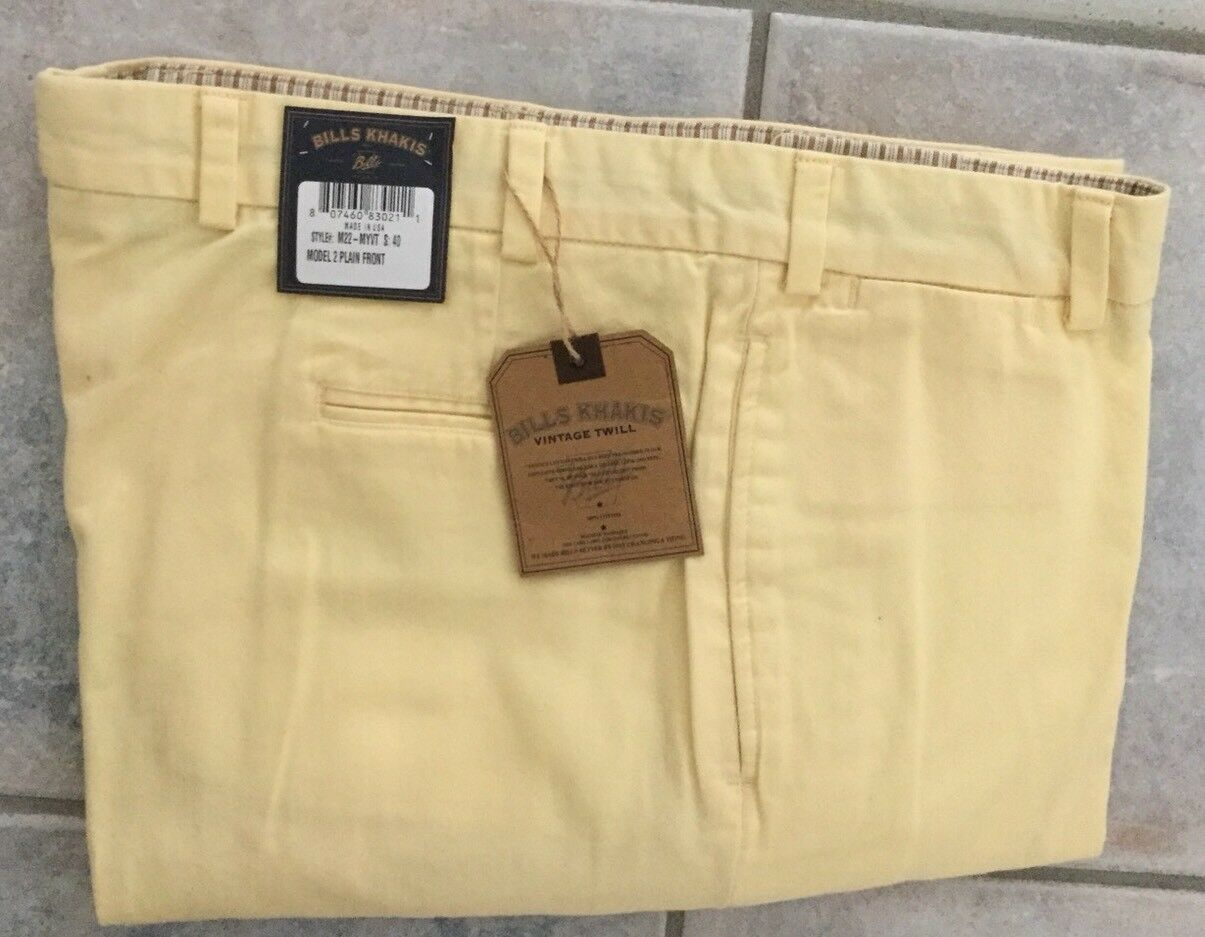 BRAND NEW-Bills khakis M22-MYVT Size 32X32 PLAIN VINTAGE TWILL YELLOW