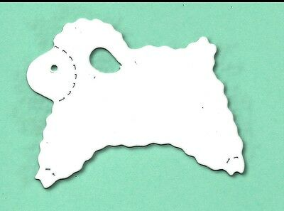 20 Die Cut Sizzix ovejas blancas 5x6cm Pascua Lámpara Primavera Granja Tarjeta hacer artesanías